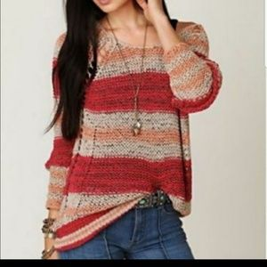 FREE PEOPLE LOOPED KNIT DESIGN OVERSIZED TOP!